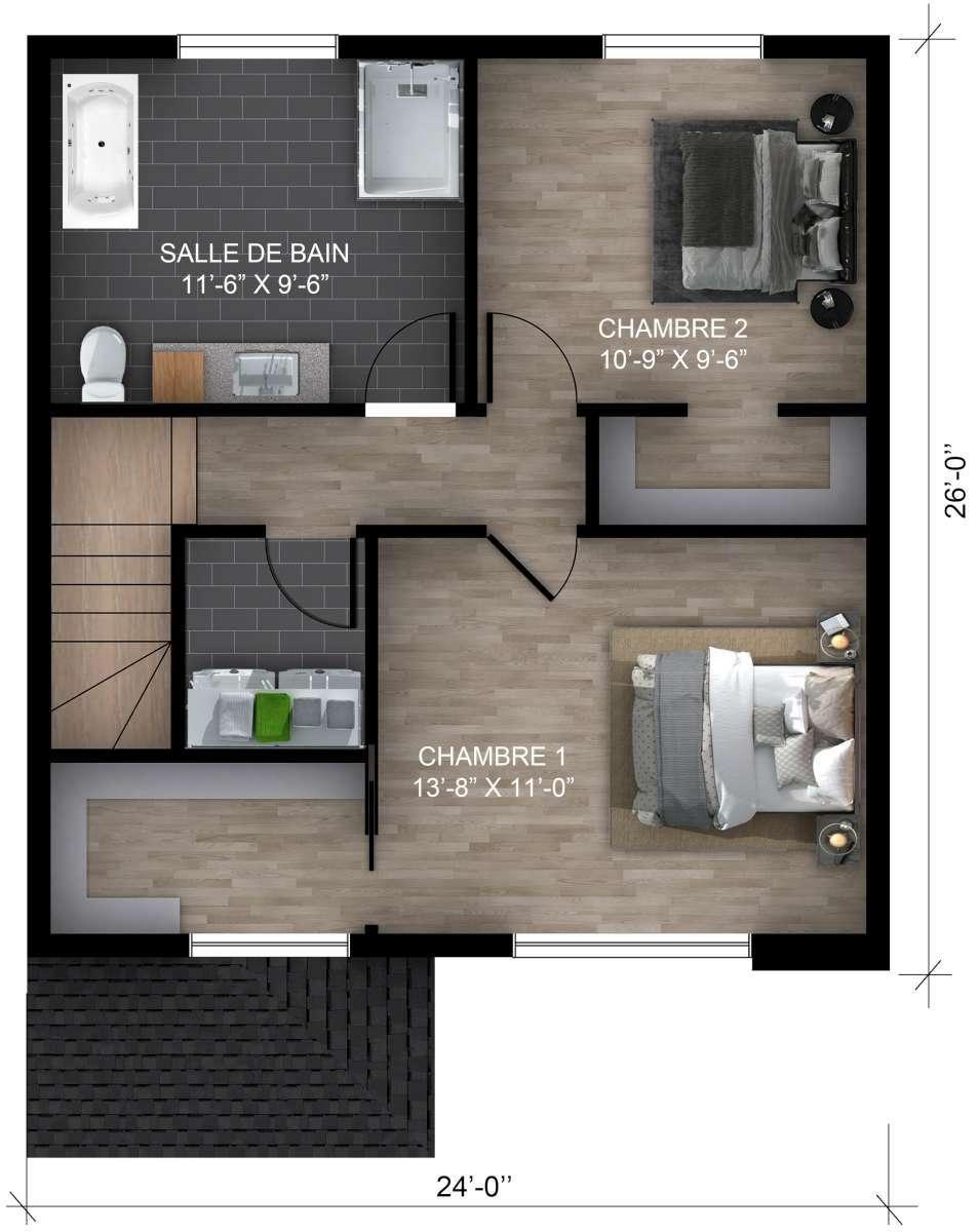 Sous-sol 2 chambres (cliquez l'image pour agrandir)