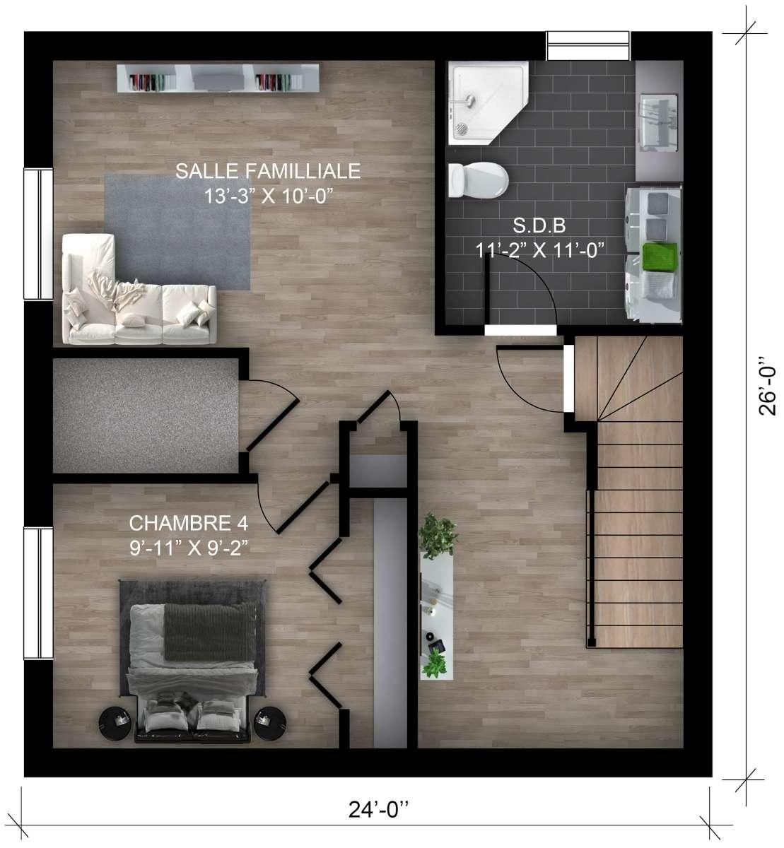 Sous-sol une chambre et salle familiale (cliquez l'image pour agrandir)