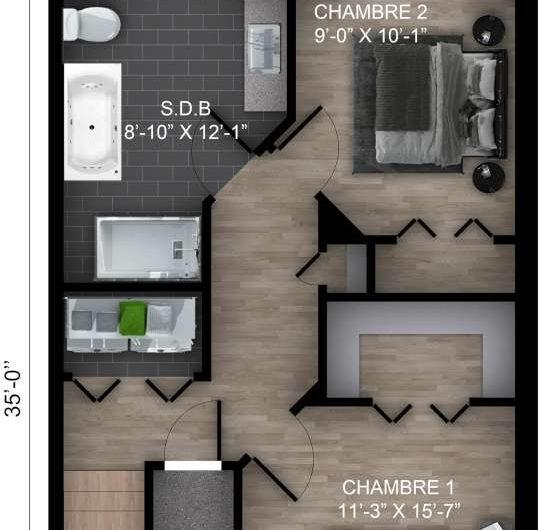 Maison de ville 20′ X 35′